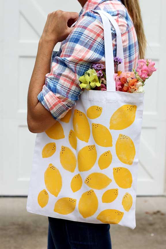 Estampación tote bag limones amarillos