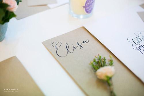 Texto caligráfico para boda