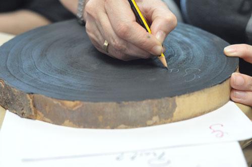 Escribiendo sobre un tronco