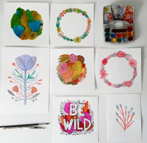 flores y lettering con acuarela